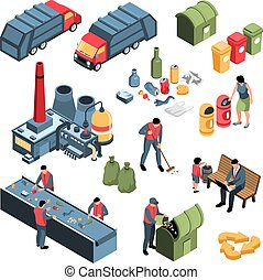 Isometric Garbage Recycling Set