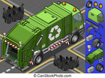 isometric garbage truck