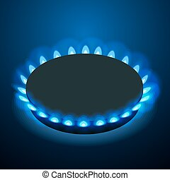 Isometric gas burner or hob on a black background. Vector Blue flame.