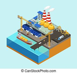 Isometric Gas Offshore Industry Concept