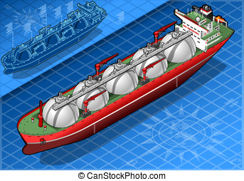 Isometric Gas Tanker Ship in front - detailed illustration...