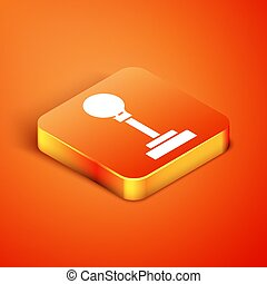 Isometric Gear shifter icon isolated on orange background. Manual transmission icon. Vector