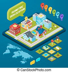 Isometric geolocation concept with town houses private and office buildings and gps icons 3d vector illustration
