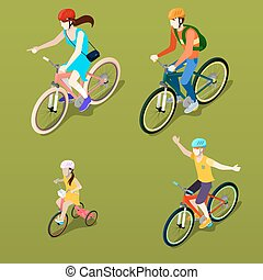isometric, gezin, mensen., illustratie, bicycle., vector, cyclists.