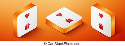 Isometric Gift with balloon in shape of heart icon isolated on orange background. Valentine's day, wedding, birthday card. Orange square button. Vector