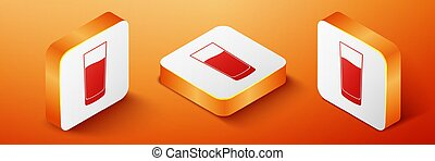 Isometric Glass with water icon isolated on orange background. Soda glass. Orange square button. Vector