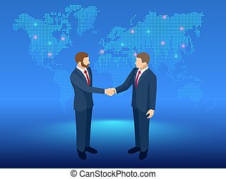Isometric Global Cooperation. Businessmen shaking hands at...