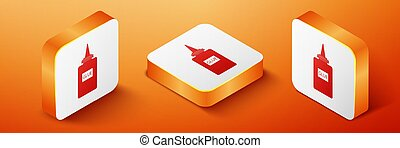 Isometric Glue icon isolated on orange background. Orange square button. Vector
