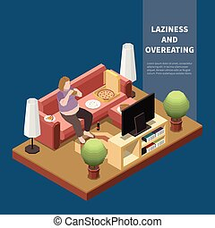 Isometric Gluttony Concept - Gluttony concept with plump ...
