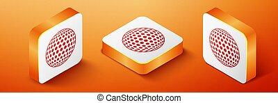 Isometric Golf icon isolated on orange background. Orange square button. Vector