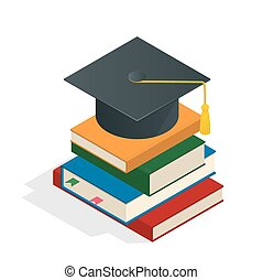 Isometric Graduation concept illustration. Heap of book graduate cap on top book license stationery.