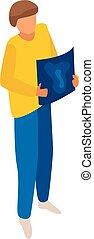 isometric, grafisch, stijl, ontwerper, pictogram, man