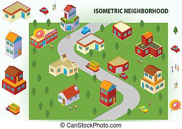 isometric, grannskap