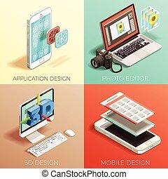 Isometric Graphic Design Set