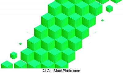Isometric green cubes pattern diagonal transition. Including luma matte.