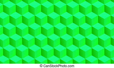Isometric green cubes pattern moving horizontally. Seamlessly loopable animation.
