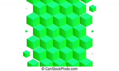 Isometric green cubes pattern vertical transition including ...