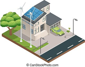 Isometric Green Eco House - Modern green eco house with...