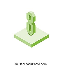 Isometric green eight icon on square, 3d character