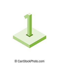 Isometric green one icon on square, 3d character
