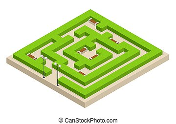Isometric Green plant maze. City, park and outdoor plants. Rectangular park is a labyrinth made of bushes with benches for rest. Vector illustration