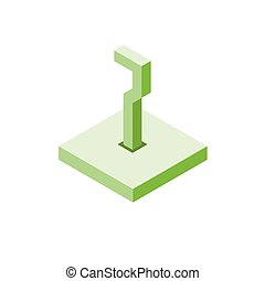 Isometric green seven icon on square, 3d character