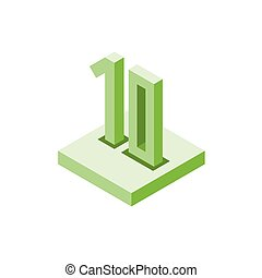 Isometric green ten icon on square, 3d character