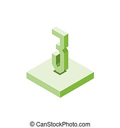 Isometric green three icon on square, 3d character