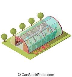Isometric greenhouse, farm building isolated icon - ...