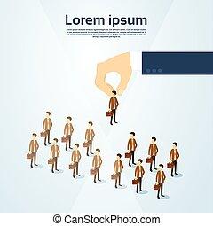 isometric, groep, zakelijk, kandidaat, mensen, werving, ruimte, hand, persoon, pluk, kopie, 3d