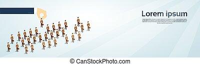 isometric, groep, zakelijk, kandidaat, mensen, werving, ruimte, hand, persoon, pluk, kopie, spandoek, 3d