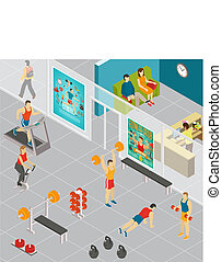 Isometric Gym Room Composition