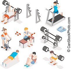 Isometric gym workout flat vector set. Men and women pumping...