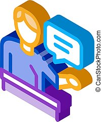 isometric, högtalare, ikon, seminarium, vektor, illustration