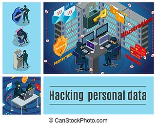 Isometric Hacker Activity Colorful Composition