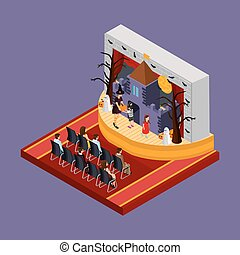 Isometric Halloween Theatrical Performance Concept -...
