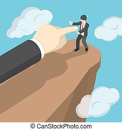 Isometric hand push businessman to fall the from cliff.