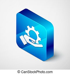 Isometric Hand settings gear icon isolated on grey background. Adjusting, service, maintenance, repair, fixing. Blue square button. Vector Illustration