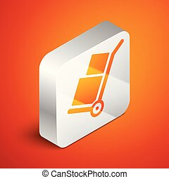 Isometric Hand truck and boxes icon isolated on orange background. Dolly symbol. Silver square button. Vector Illustration
