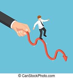 isometric, handlowy, wielka ręka, wykres, biznesmen, potrząsanie