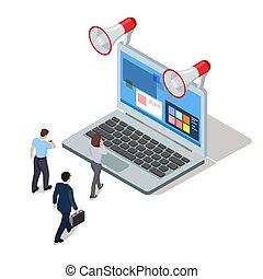 isometric, handlowy zaludniają, freelance, ilustracja, vector., online