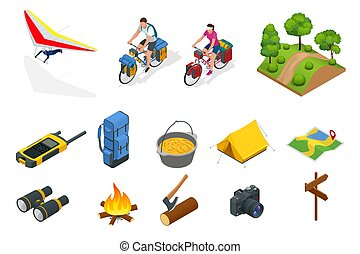 Isometric Hang Glider Bikers On Bicycle With Travelling Bag For Travel Camping Equipment Isolated