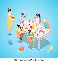 Isometric Happy Birthday Party Celebration with Children and Cake. Vector 3d flat illustration