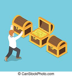 Isometric happy businessman with opened treasure chest.
