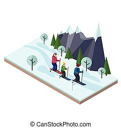 Isometric happy family skiing. Cross country skiing, winter sport. Olimpic games, recreation lifestyle, activity speed extreme