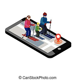 Isometric happy family skiing. Searching for cross country skiing in city. Winter sport. Mobile navigation. Olimpic games, recreation lifestyle, activity speed extreme