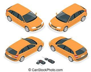 Isometric hatchback and car keys. Vector 3d flat transport. Car hatchback.