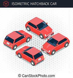 isometric hatchback car - Isometric red hatchback car. 3d...