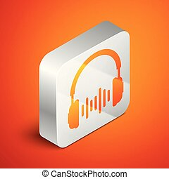 Isometric Headphone and sound waves icon on orange background. Earphone sign. Concept object for listening to music, service, communication and operator. Silver square button. Vector Illustration