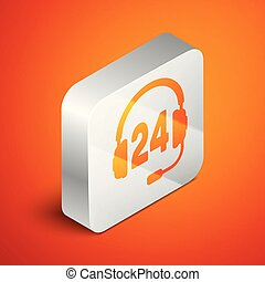 Isometric Headphone for support or service icon isolated on orange background. Concept of consultation, hotline, call center, faq, maintenance, assistance. Silver square button. Vector Illustration
